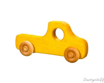 Wooden Toy Truck - Natural & Organic Wooden Toy Truck for Toddlers, Kids, Children, Wooden Toy Pickup Truck, Toy Truck, Maple Wood, Yellow