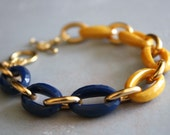 Arm Candy - mustard yellow navy blue and gold link bracelet