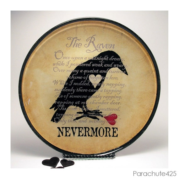 The Raven decoupage glass plate, macabre home decor, gothic Poe, broken heart, nevermore, Halloween