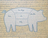 Funny Kitchen Art - Pig Cuts of Meat