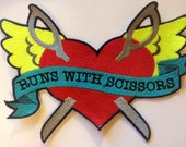 Large Run With Scissors Machine Embroidered Iron On Patch