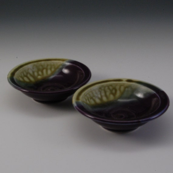 Small Pottery Bowl Porcelain Purple Fern Green Blue by Mark Hudak