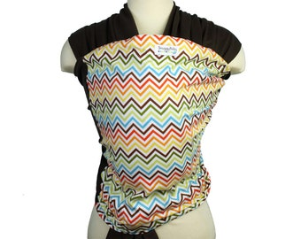 Baby Carrier Stretchy Wrap Baby Sling - Rainbow Chevron - Instructional DVD Included - FAST SHIPPING
