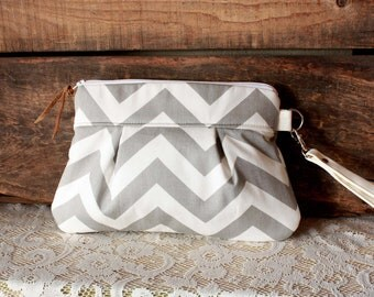 Grey white Chevron Wristlet Pouch Clutch Nautical stripe--MADE TO ORDER--