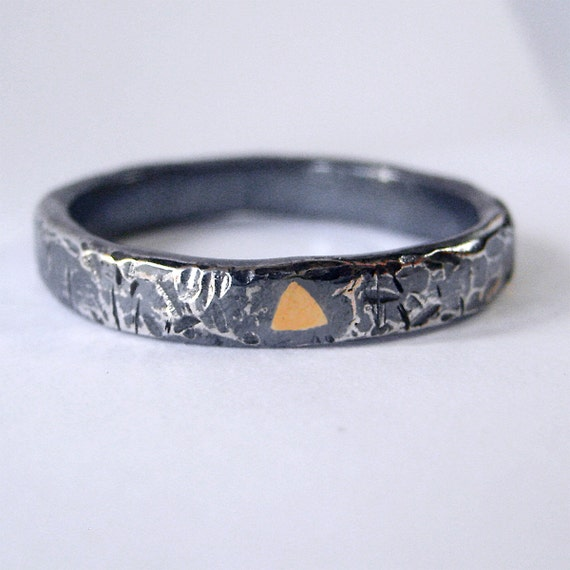 oxidized sterling silver ring with 14k gold by smokeanddaggers
