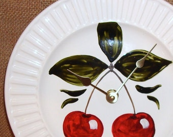 Hand Painted Cherry Wall Clock, 9 Inch Silent Ceramic Plate Clock, Kitchen Wall Clock, Kitchen Decor - 889
