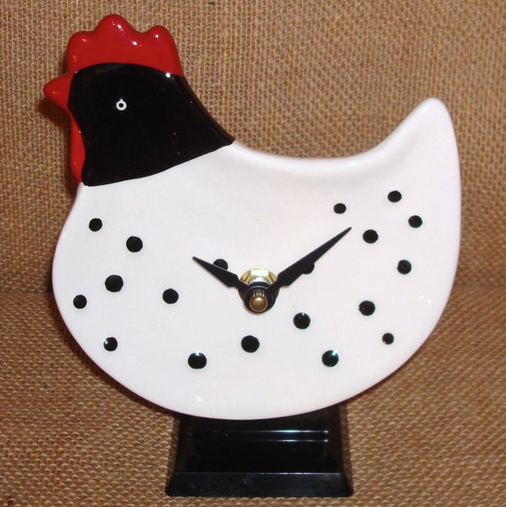 ON SALE - Shelf or Countertop Black and White Polka Dot Rooster Ceramic Plate Clock No. 917 (5x6 inches)