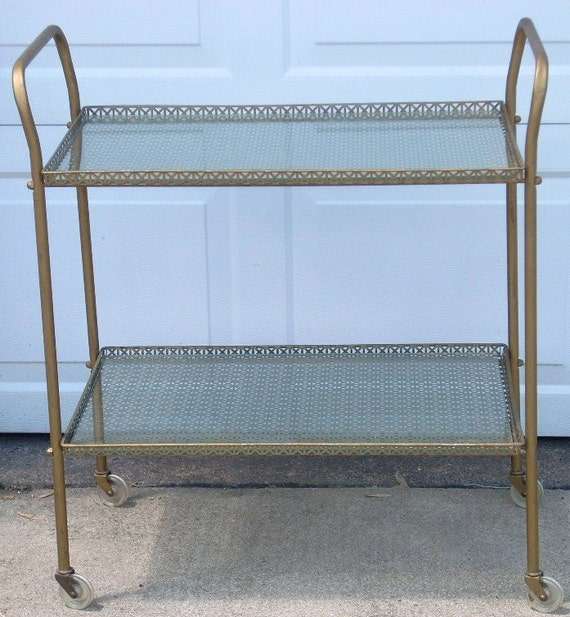 Vintage Metal Serving Filigree Brass Bar Cart