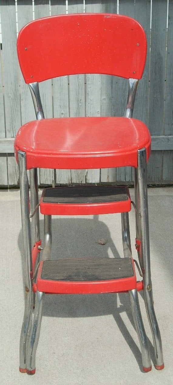 Mid Century Fifties Chrome And Red Stylair Metal Chair Step