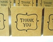 2x2 Mini Thank You Cards or Tags - Blank Enclosure Card - Kraft (Set of 12)