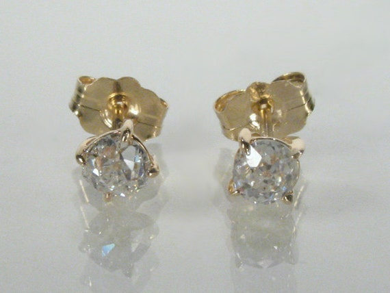 Old Mine Cut Diamond Ear Studs - 0.40 Carats TW