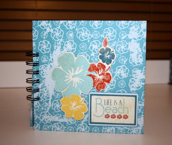 Life is a Beach Photo Album with pre-made pages - sea green, blue and white
