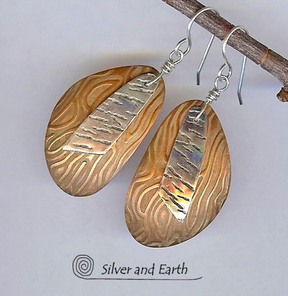 Mixed Metal Earrings with Textured Sterling Silver & Copper,  Artisan Metalwork Jewelry, Dangle Earrings, Handmade Mixed Metal Jewelry