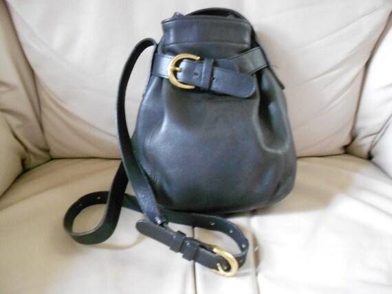 Vintage 1990s Coach Bag / Black  Leather Bucket Bag   Reserved fo Susan
