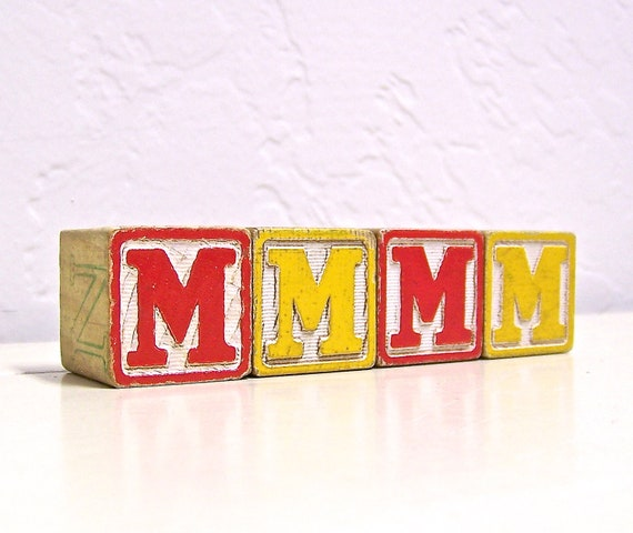 mmmm - vintage wooden letter blocks