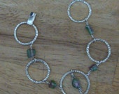 Sterling Silver and Watermelon Tourmaline Bracelet / Metaphysical / Wiccan / Pagan / Free Ship in U.S.