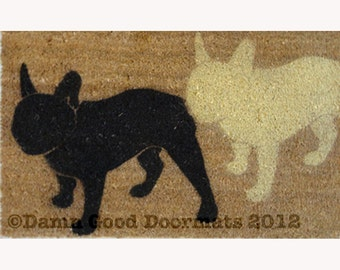 """for Jessica Graziano 2 French Bulldogs """"Frenchie"""" dog door mat"""