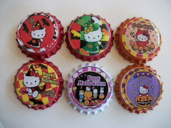 Hello Kitty Halloween finished bottlecaps