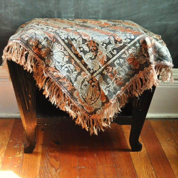 Vintage Scarf or Small Table cloth Shimmery Gold and Silver Gypsy Russian Woven Tapestry