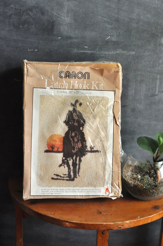 Vintage Latch Hook Rug Kit Cowboy in the Sunset