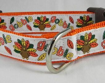 Gobble Gobble Thanksgiving Dog Collar / Turkey Dog Collar / Thanksgiving Dog Collar / Fall Dog Collar