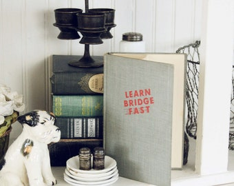 Learn Bridge Fast- Vintage Book- -Decorative Literature- Home Decor