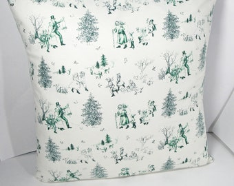 """Christmas Toile Pillow cover, green & white winter scene, Christmas carol scenes, Victorian vintage look, 18 inches, 16"""", 14"""", 12x22"""", 20"""