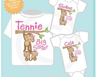 Sibling Monkey Shirt Set, Set of Three, Big Sister Shirt, Big Sister, and Twin Babies,  Personalized Shirt or Onesie (07182012b)