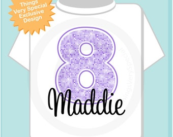 Eighth Birthday Shirt, Light Purple 8 Birthday Shirt, Any Age Personalized Girls Birthday Shirt Light Purple Age and Name (11212012a)