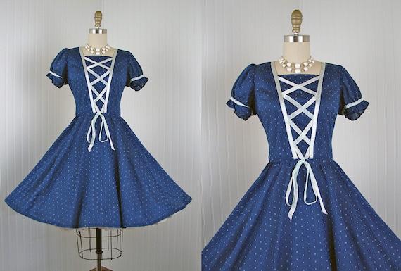 1960s Dress - Vintage 60s Navy Blue Corset Lace Polka Dot Circle Skirt Dance Dress S - Gossamer