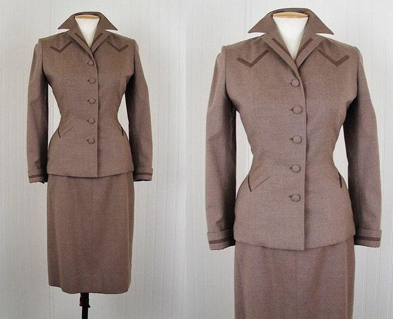 1940s Suit - Vintage 40s Suit Beverly Hills Designer Military Wool Gab Skirt Suit M - V for Victory