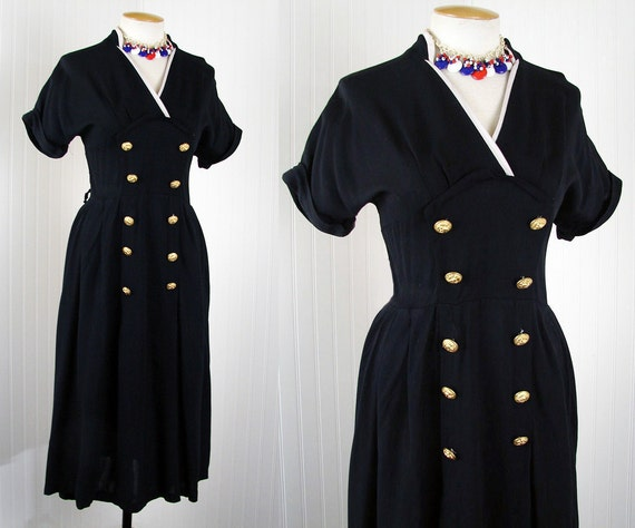 1940s Dress - Vintage 40s Sailor Navy Two Tone Rayon Bust Shelf Swing Nautical Novelty Eagle Anchor Buttons L - Aye Aye