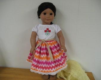 Beautiful Camsia, Shirt, Belt and Rebozo for American Girl Doll Josefina