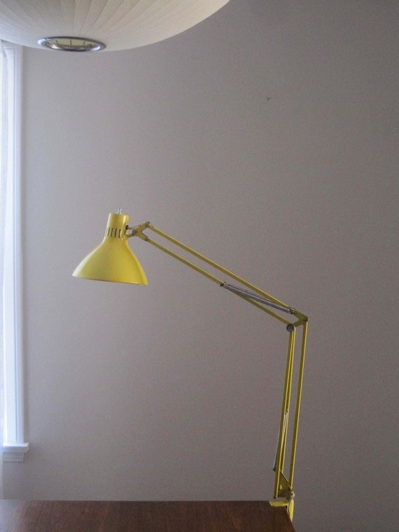 Vintage Industrial Modern Swing Arm Yellow Metal Luxo Lamp Clamp Style