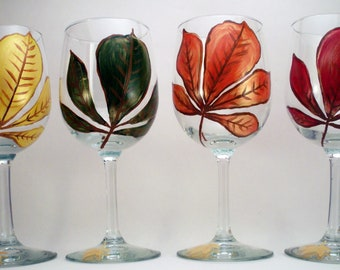 Fall leaves in red, yellow, orange, and green - hand painted Fall wine glasses - set of 4 Ready to Ship