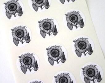 Sunflower Stickers One Inch Round Seals