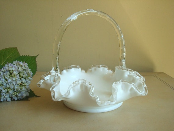 Fenton Silver Crest Basket, 1950s crystal milk glass