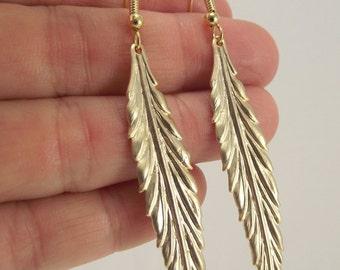 Long Gold Leaf Earrings, Gold Earrings