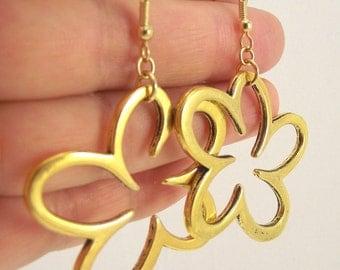 Large Gold Flower Earrings, Gold Earrings