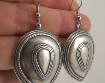 Antiqued Silver Teardrop Earrings, Silver Shield Earrings