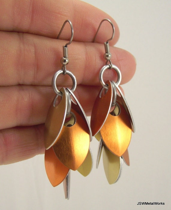 Orange and Gold Small Scale Shag Earrings, Scalemail, Scale Earrings, Aluminum Earrings