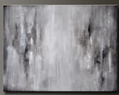 Graphite Gray - 40 x 30 - Abstract Acrylic Painting - Huge Contemporary Wall Art - Grey Gray Black White