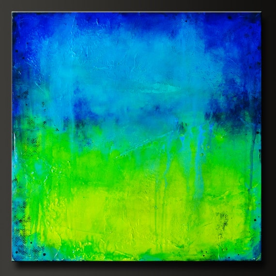 Midori Falls - 24 x 24 - Abstract Acrylic Painting - Highly Textured - Contemporary Wall Art