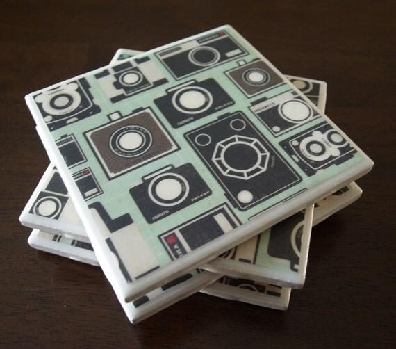 Camera Tile Coasters - Say Cheese
