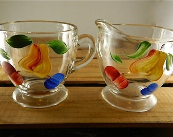 Vintage Cream and Sugar Set,SALE, Glass Hand Painted Fruit, Pretty: Fruity Licious