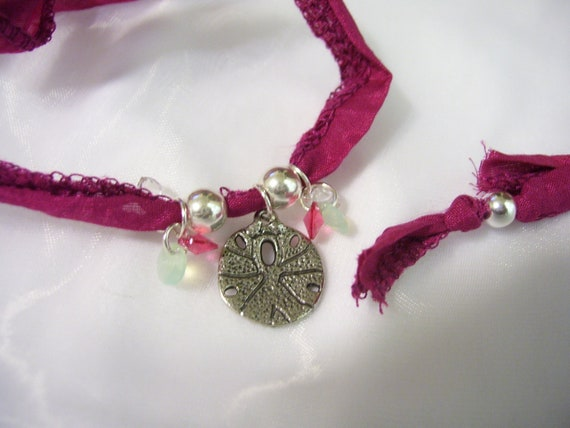 Silver Dollar Silk Ribbon Necklace