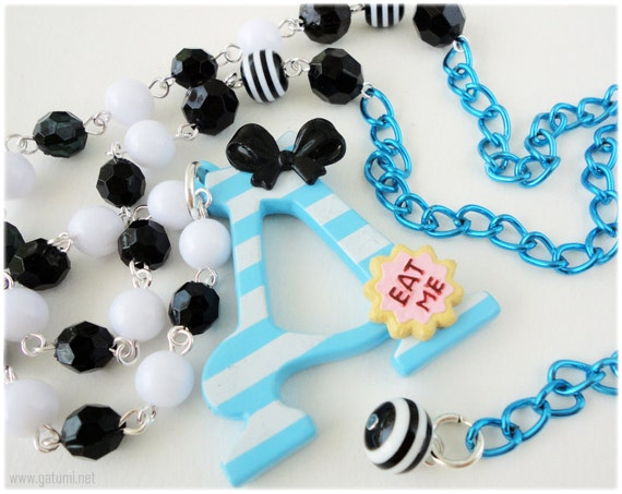 Alice in Wonderland Necklace, Oversized Acrylic Pendant on Long Black and White Beaded Blue Chain