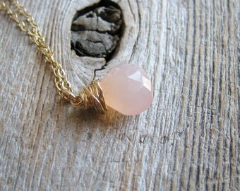 Chalcedony Briolette Necklace Wire Wrapped Faceted Pink Chalcedony Briolette 14kt Gold Filled Chain Minimalist