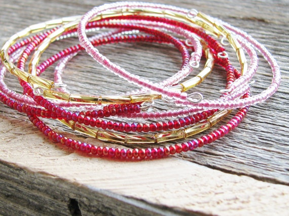 Beaded Bangle Bracelets Memory Wire Bracelets Pink Red Gold Glass Seed Beads on Individual Memory Wires