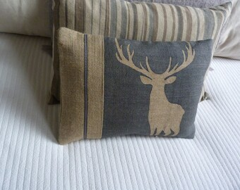 hand printed deep muted blue stag cushion